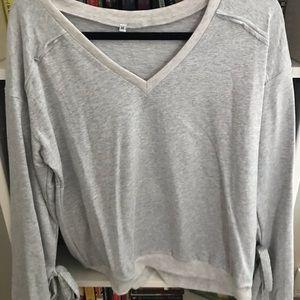 Tops - Grey sweatshirt with wide sleeves
